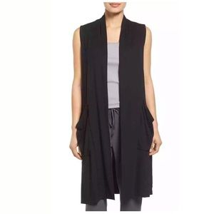Eileen Fisher Black Jersey Open-Front Long Vest XS